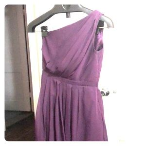 Plum one shoulder bridesmaid dress with pockets!